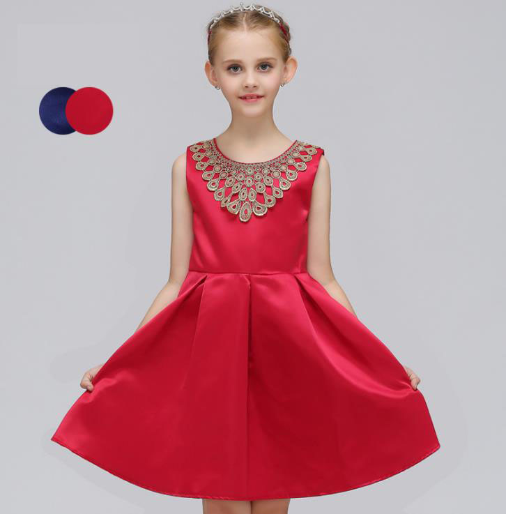 Girls Dress Summer 2018 Bow Girl Children Clothing Clothes Kids Dress for Princess Holiday Party Wedding Toddler 3-12T red blue<br>