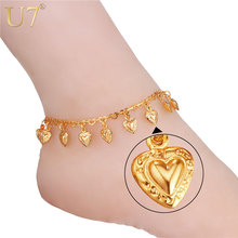 U7 Heart Charms Ankle Bracelet On Leg Gold Color Summer Jewelry Wholesale Anklet Bracelet Foot Jewelry For Women Gift A318(China)