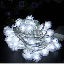 10M  220V Holiday Snowball LED Strings Fairy Lights Pompon Wedding Party Decoration String Light Strings Flakes Snow Ball