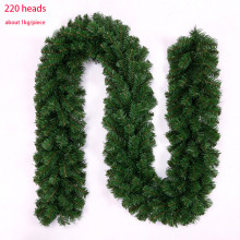 HAOCHU 2.7m Rattan Christmas Decor Green Ribbon Garland Display Window Shoppe Market Supplies Artificial String Door Wall DIY