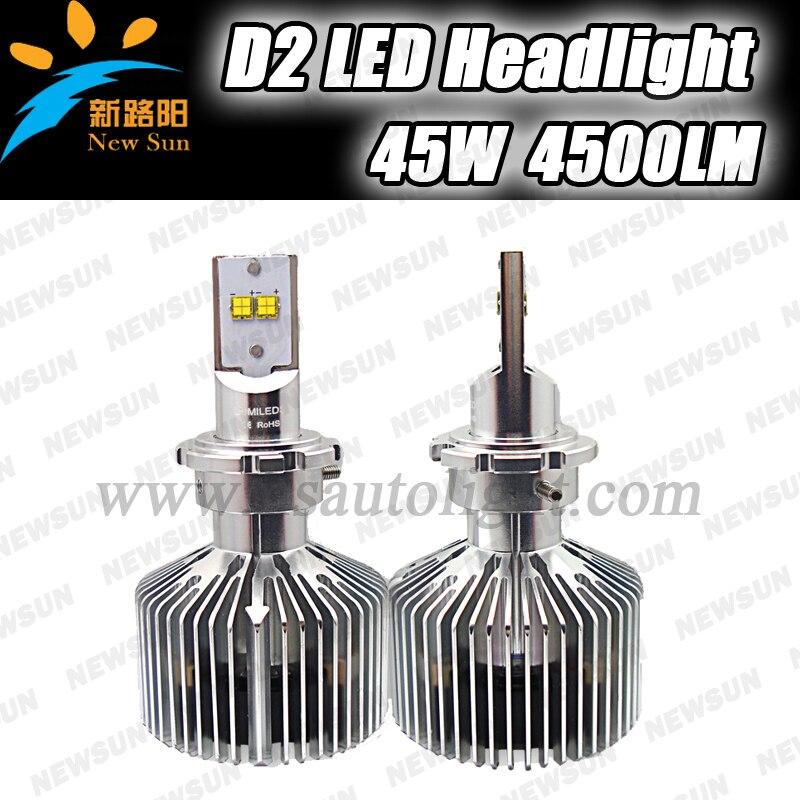4500Lm LED Car headlight D2 Auto fog light bulbs 12V 24V 45W Led head lamp Xenon white 6000K Universal for car truck<br><br>Aliexpress