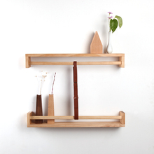 Solid wood wall shelves simple modern living room pine wall hanging creative partition storage rack logs non - slip(China)