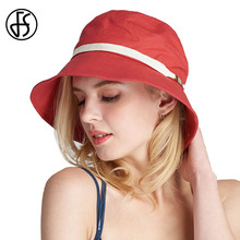 FS Wide Brim Floppy Summer Cotton Hats For Women Solid Color Lady Casual Beach UV Sun Visors Caps Foldable Hat Red(China)