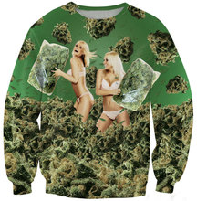Sexy Fashion Sweatshirt 3D Weed Bikini Girls 420 Pillow Fight Printed Funny Pullover Long Sleeve Women Crewneck Hoodies