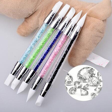 2 Way Rhinestone Crystal Nail Art Brush Pen Silicone Head Carving Emboss Shaping Hollow Sculpture Acrylic Manicure Dotting Tools