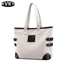 Best Seller Natural Canvas Women's Handbag Beach Handbags Eco Friendly Leather Lady Tote Bag Designer Handbags High Quality(China)