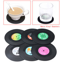 6Pcs/lot Useful Vinyl Record Coaster Vintage Record Cup Drinks Holder Mat Tableware Placemat Coasters Cup Mat Coffee Placemat