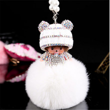 Monchhichi fur ball pompom plated pearlCar Pendan crystal Monchichi  Real rabbit Fur Pom pom Women Handbag car charm Pendant