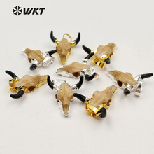 WT-P1213 Wholesale popular jewelry tiny size resin cattle head pendant High quality Charm Buffalo pendant for jewelry making(China)