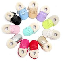 Hot sale New Winter Warm boots PU Leather Baby moccasins shoes with fur baby boots first walker Infant Tassel Baby Shoes