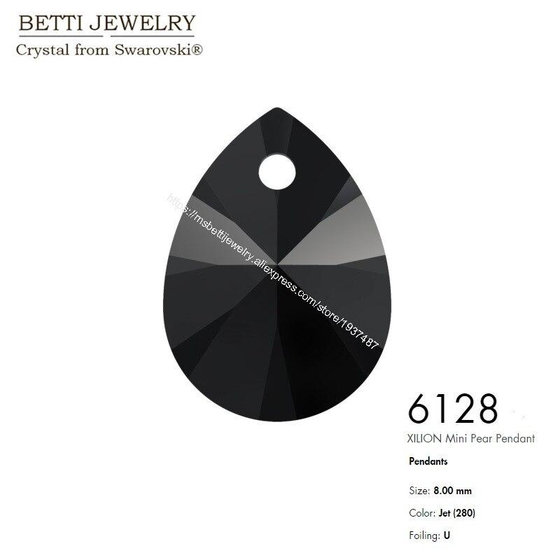 6128 Xilion mini Pear Pendant Jet-1