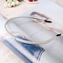 M MISM New Shiny Pearl Headband Wedding Party Rhinestone Hair Bands Bridal Hair Accessories Girls Hairwear Hair Hoop
