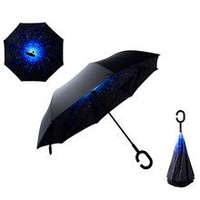 Hot Sale Windproof Reverse Folding Umbrella Double Layers Inverted Self Stand Inside Out Rain Protection C-Hook Hands
