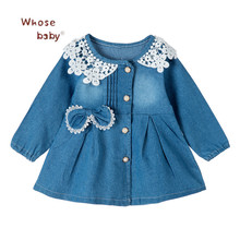 Baby Girl Dress Denim Clothes Organic Cotton Girls Dresses Lace Bow Vestido Infantil Long Sleeve Dresses for Girls(China)