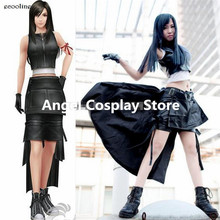Game Anime Final Fantasy VII Tifa Lockhart Cosplay Costume Black Hallowmas Christmas Clothing Dress Skirt Any Size NEW