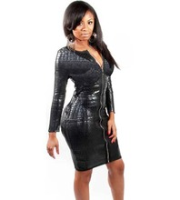 Sexy Club Dress Women Clothing Black Snakeskin Faux Leather Bandage Dress Zipper Bodycon Lady Soft Nice Dress 5XL 6XL Plus Size