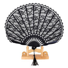 New Hot Sale Vintage Lace Trim Bamboo Hand Fan Folding Fan Pocket Dancing Fan Black(China)