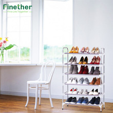 Finether 6 Tier Stackable Adjustable Shoe Rack Shoe Tower Shelving Storage Organizer for Closet Living Room Metal PP Organizador(China)