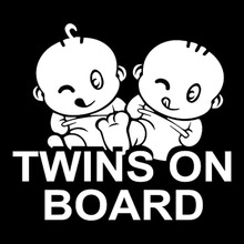 15.2*13.7CM TWINS ON BOARD Car Styling Warning Mark Decal Cool Car Sticker Accessories Black/Silver