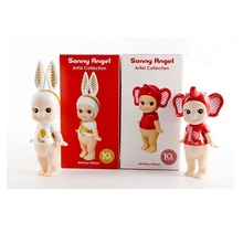 2Pcs/Set Sonny Angel Artist Collection 10th Anniversary Brithday Ribbon PVC Action Figure Toy Collectible Model Gift For kid