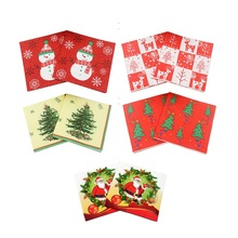 Chic Red Paper Towel DIY Party Paper Christmas Snowman Fabric Paper Napkin Christmas Decorative Funny Festival Style(China)