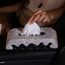 Buy Luxury Diamond Car Tissue Paper Box Leather Crystal Block-type Tissue Boxes Case Holder Car Styling Automobile accessories for $44.92 in AliExpress store