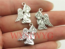 WYSIWYG 6pcs 24*17mm antique silver praying angel charms