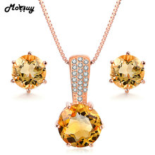 MoBuy Jewelry Accessories Natural Gemstone Six Claws Citrine 925 Sterling Silver 2PCS Fine Jewelry Set Necklaces&Earrings V002EN