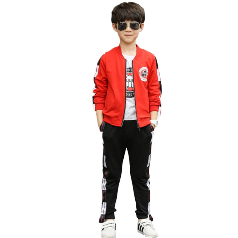 Children Clothing Boys Boutique Outfit Hoodie 3-piece Sports Suit Teenage Baseball jacket Tracksuit Red Boys Clothes 10 Years<br>