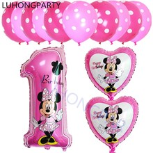 13pcs mickey minnie mouse number 1 foil balloons lot helium latex globos baby shower birthday party decor supplies kids toys(China)
