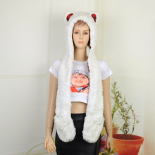 Fashion Women Faux Fur Hood Animal Hat Ear With Long Scarf Wolf Fur Hood Hat Paws Beanie Cap Winter Cartoon Hat High Quality(China)