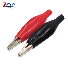 10Pair (=20pcs/lot) Black Red Soft Plastic Coated Testing Probe Aligator Clips Crocodile P2001(China)
