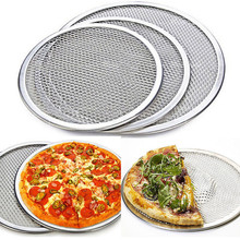"Aluminum Flat Mesh Pizza Screen Round Baking Tray Net Kitchen Tools 10"" 12"" 14""(China)"