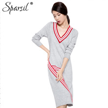 Sparsil Women's Winter Patchwork Style Cashmere Blend Dress Autumn Female Striped V-Neck Knitted Christmas Dresses