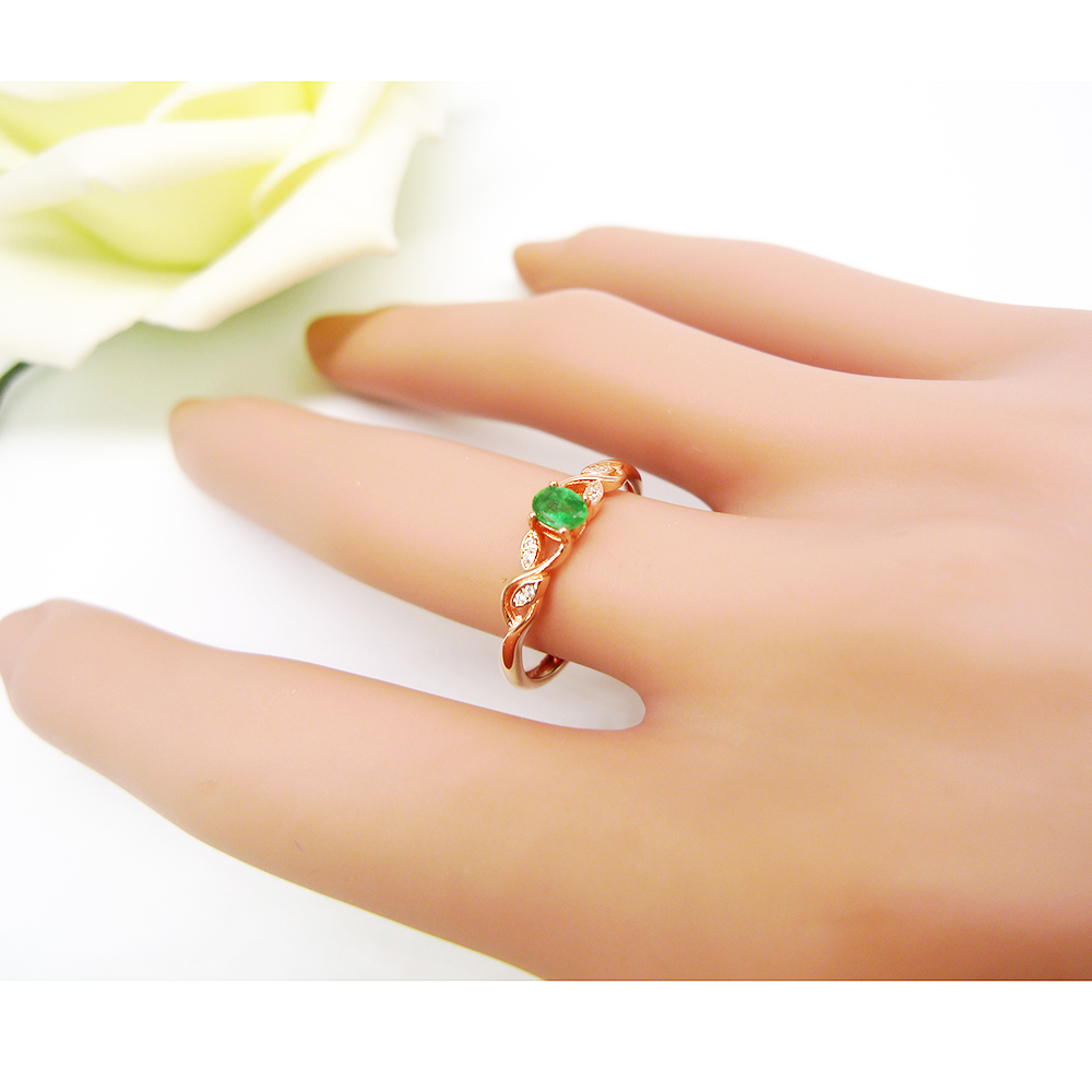 925 stering silver natural emerald ring for women lady 18k rose gold plated