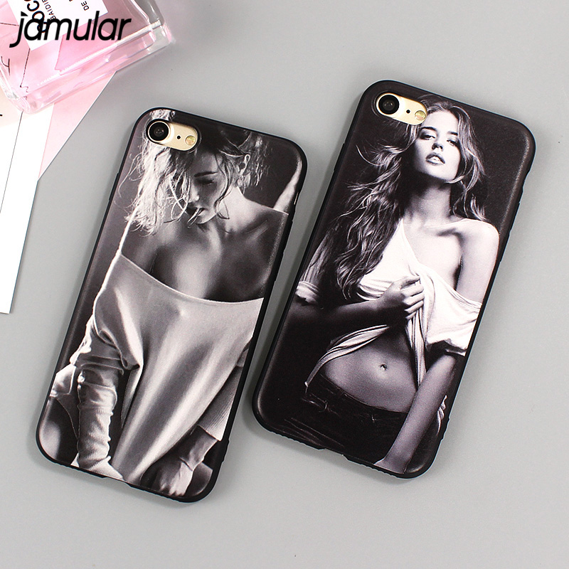 JAMULAR Sexy Girl Phone Case iPhone 8 6 6s 7 Plus Soft TPU Silicone Back Cover iPhone 7 Plus 5 5s SE Rubber Cases Capa