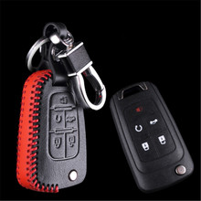 Black and Red Color Car Genuine Leather Bag Remote Control Car Keychain Key Cover Case For Buick LaCrosse GL8 5Buttons Flip Key