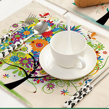 Colorful Happy Tree Pattern Printed Linen Placemats Place Mat Table Mat Dinner Coaster Kitchen Accessiories