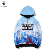 2017 Mens Autumn Winter coat Belt Hooded Zipper Jacket Male Clothing Fashion Padded Windbreaker For Men Print New York City(China)