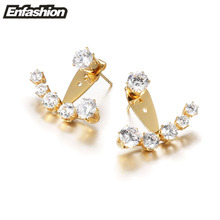 Enfashion Crystal Earrings Ear Jacket Rose Gold Color Earings Stainless Steel Earring Stud Earrings For Women Jewelry Wholesale(China)
