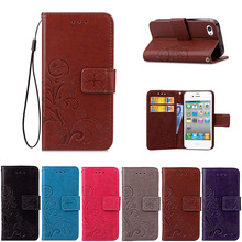 For Iphone 4S Flip Wallet PU Leather Case For Iphone 4 4S Cover High Quality Book Stand Card Slot Phone Cases(China)