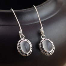 Natural Chalcedony Earring 925 Sterling Silver Women Vintage Round S925 Thai Silver boucle d'oreille Drop Earrings