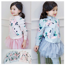 2016 New Hot kids Hoodies baby girls spring autumn fashion floral print thin sweater Long Sleeve Outwear baby clothes
