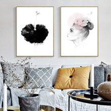 Nordic Home Decoration Canvas Painting Beautiful Girl Wall Art Wall Pictures ostrich Painting For Living Room Posters and Print(China)