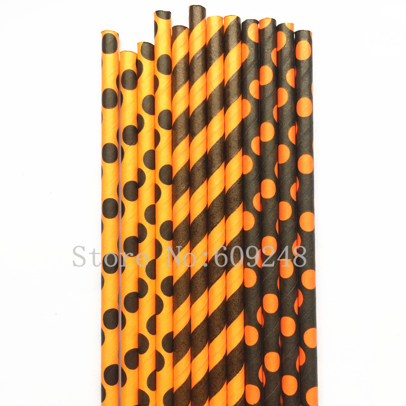 Free DHL 1000pcs Pick 300 Designs Paper Straws,Black and Orange Polka Dot Striped Paper Drinking Straws Bulk,Halloween Party(China)
