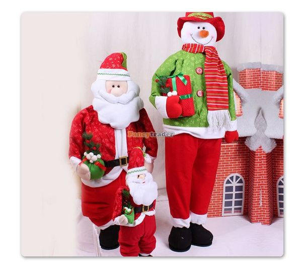 Fancytrader 2015 New Arrival 95cm Height 35cm Width Big Stuffed Santa Claus Snowman Toy,  Christmas Gift,  Free Shipping FT50022<br><br>Aliexpress