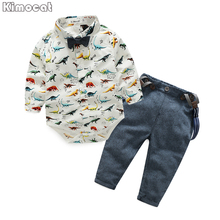 2017 Spring Newborn Baby Clothes Gentleman Baby Boy Dinosaur Garment+Overalls Fashion Baby Boy Clothes(China)