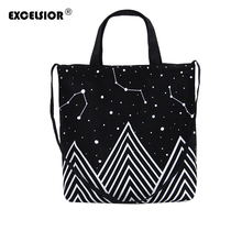 EXCELSIOR Trendy Casual Bags Canvas Shoulder Bag Black universe pattern Printed Handbags Lady Casual Shopping Bag bolsa feminina(China)