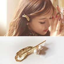 M MISM 2017 New Sale Leaves Hair Pin Hair Clip For Women Barrettes Head Accessories Bijoux De Tete Pearl Beads Hairpins Jewelry(China)