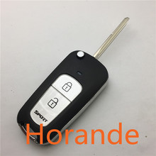Horade Car Remote Control Folding Key Blank for Hyundai Elantra Tucson Santa fe 2 button Sportage Fodified key shell